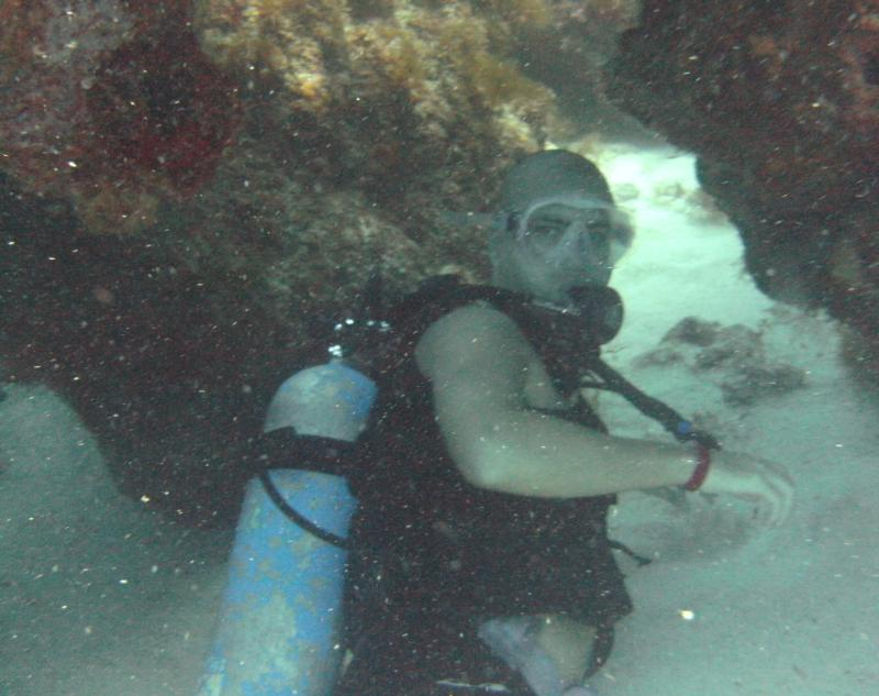 Me swimming under reef, Cancun