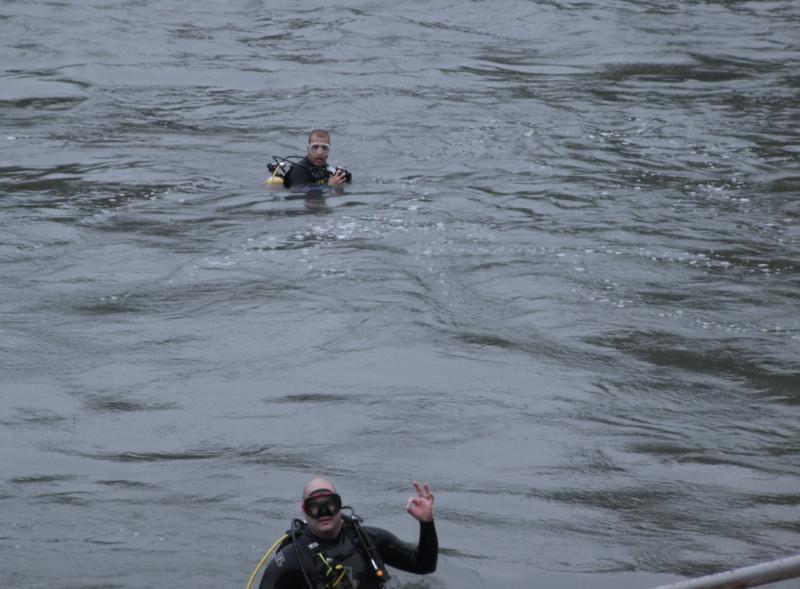 """Greg and I """"OK"""", Comal River"""