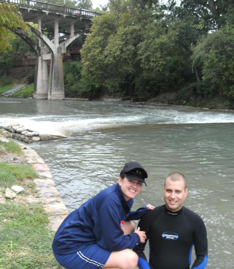 Wife and I taking a break, Comal River