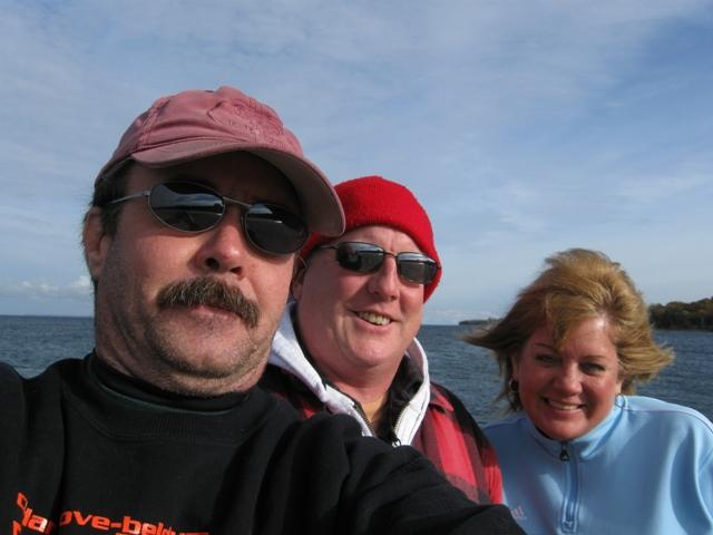 Brad, Jim and I trying to remove the Carrington wreck moring but to windy