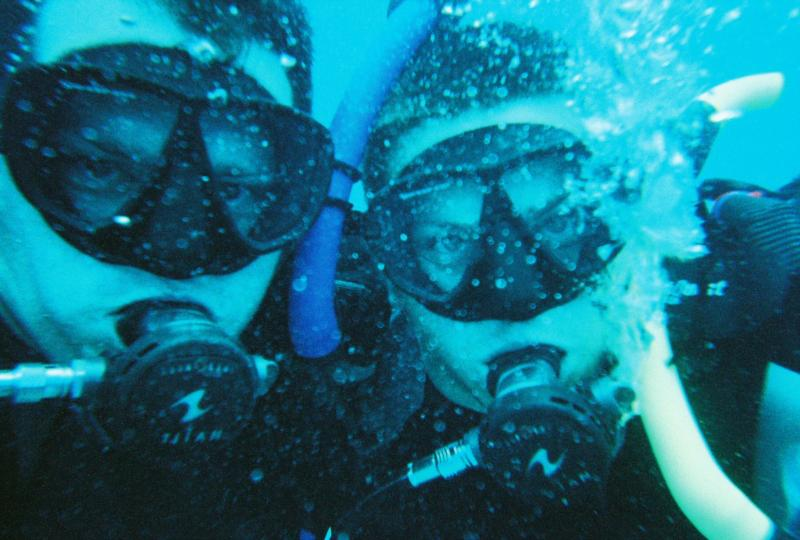 Sons, Dustin and Jason diving in Hawaii
