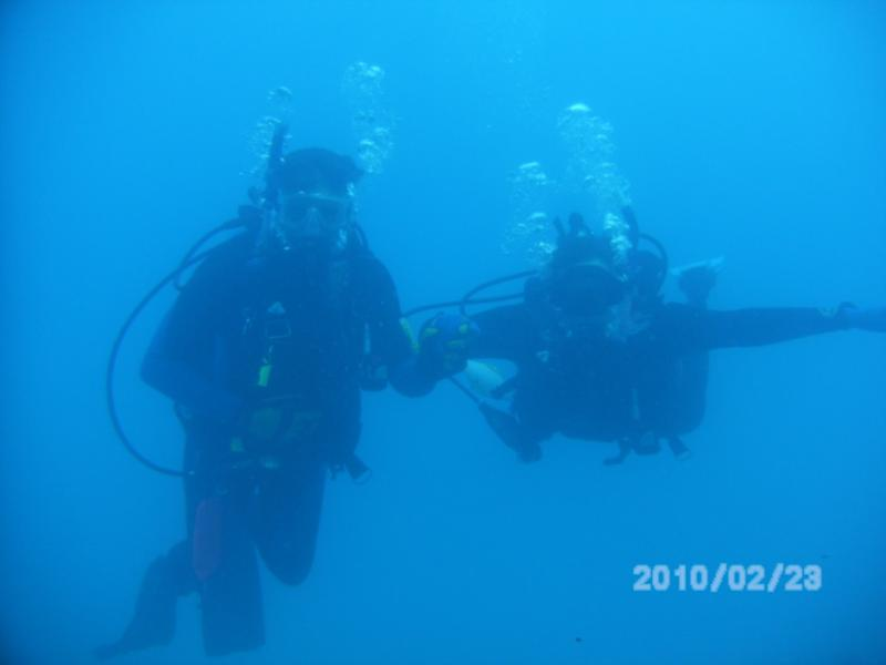 Steve and Cherie on the Benwood Wreck, Key Largo, Fl