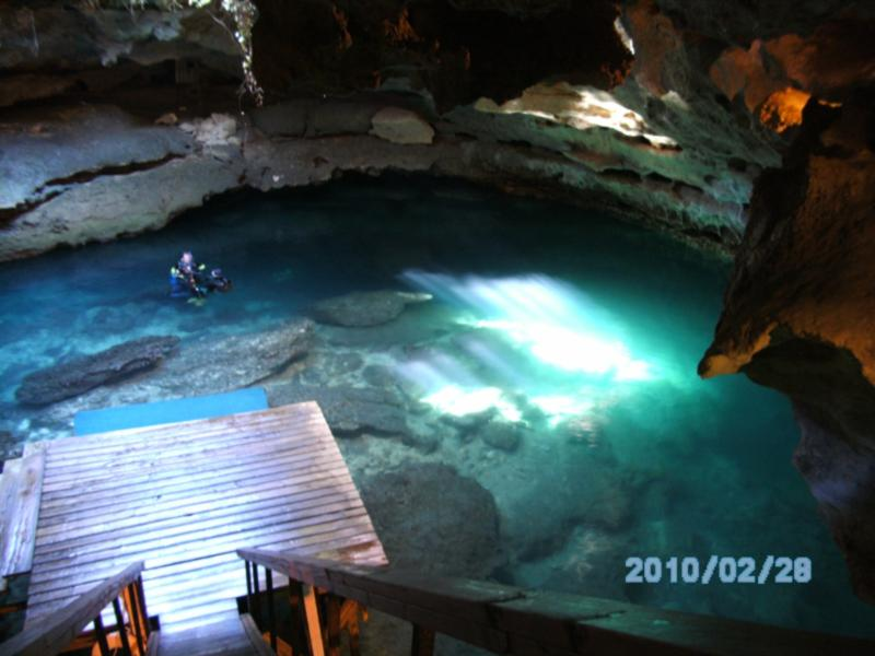 Dive Platforms at the bottom of the grotto at Devil's Den