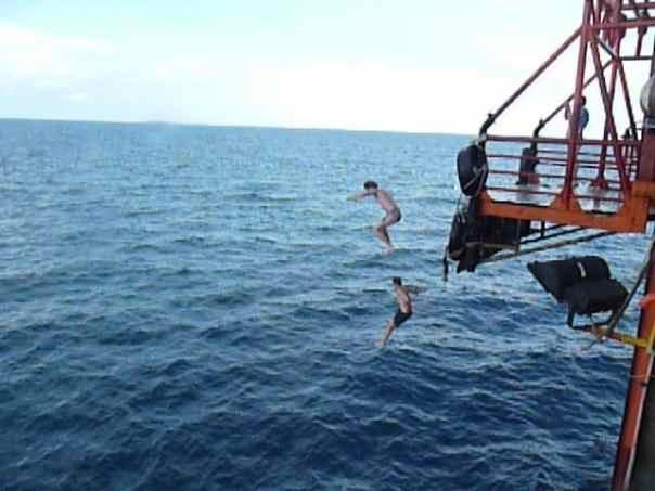 Jumping off the rig in Borneo