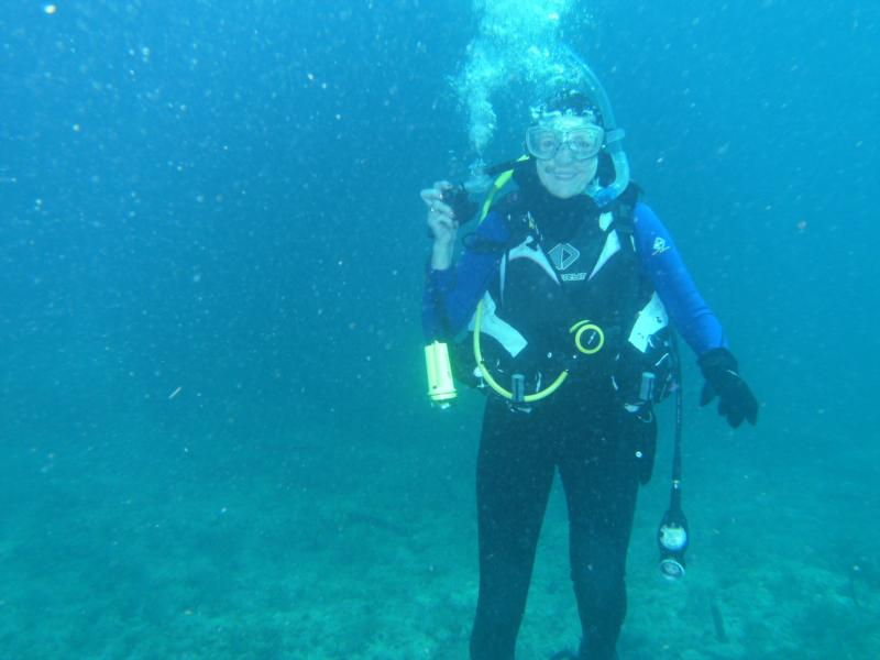 You can't see it but this is at the Benwood wreck, FL Keys