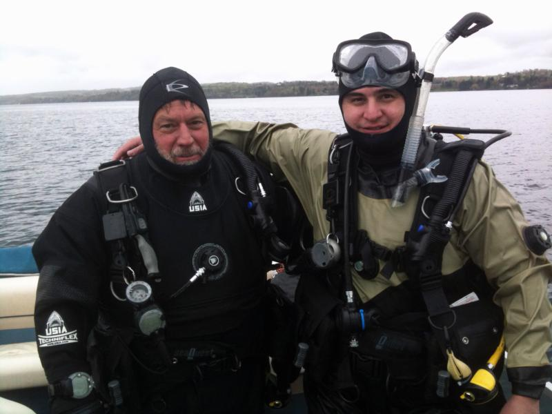 My instructor Rick (on the left) and myself (right) after a dive with dry suits.