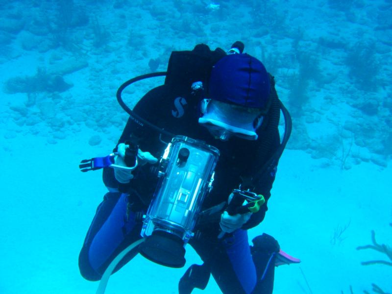Sue doing underwater video in Little Cayman