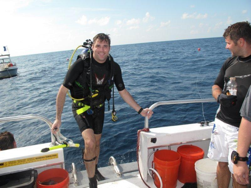 Back on the Tanks a Lot boat after diving the Sheridan