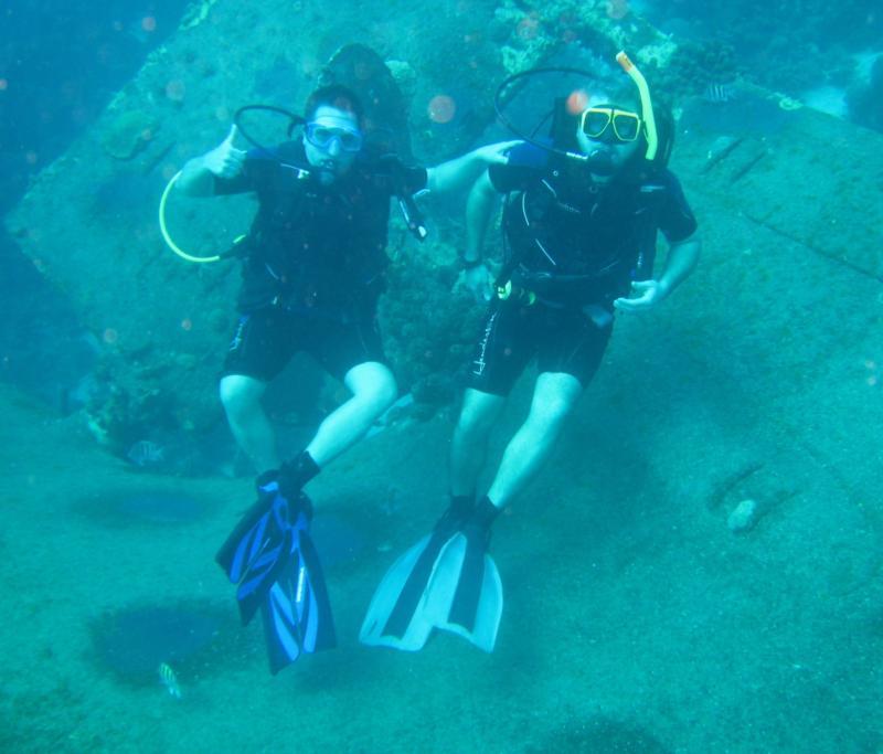Sitting on the Hilma Hooker Wreck, Bonaire