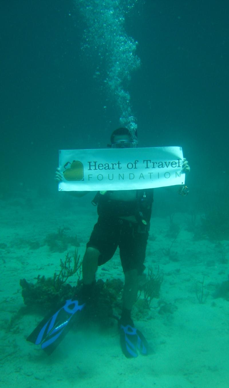 The first underwater shot with my foundation's banner!