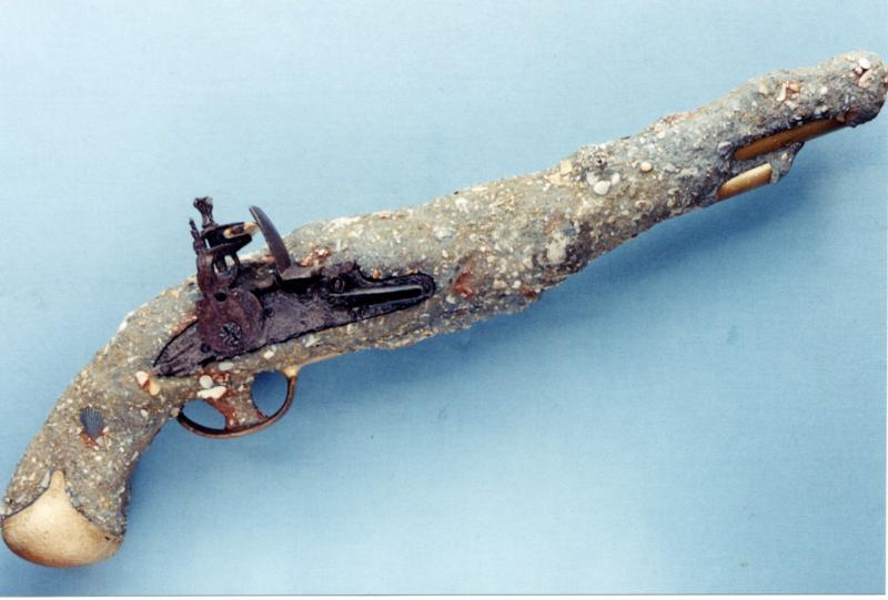 1733 CAPITANA Florida Keys Flint Lock Pistol 2000 Salvage Season Bob 'Frogfoot' Weller