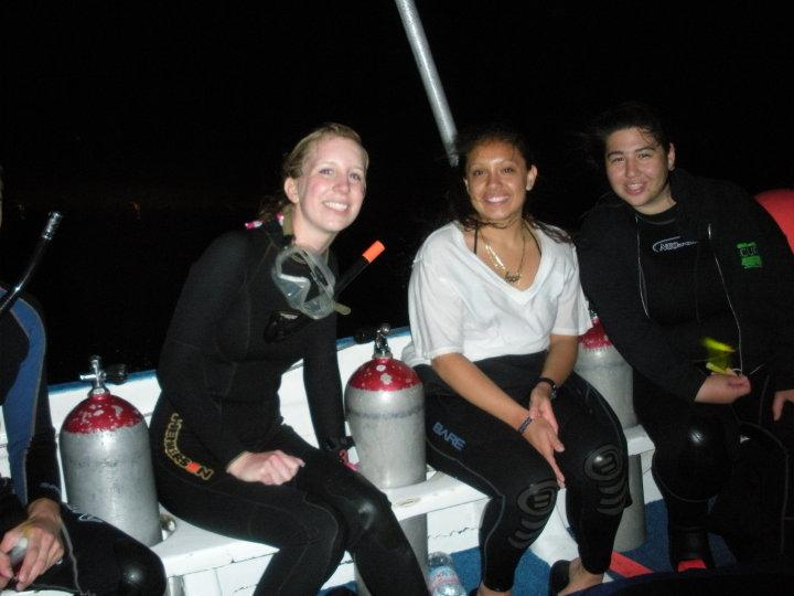 On boat between night dives in cozumel, mexico