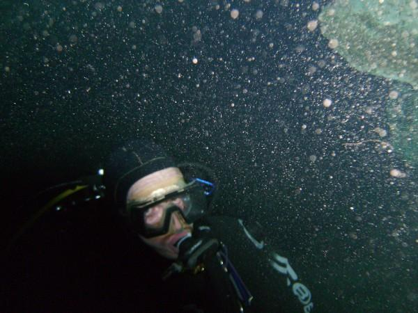 SItting on the bottom of blue Grotto