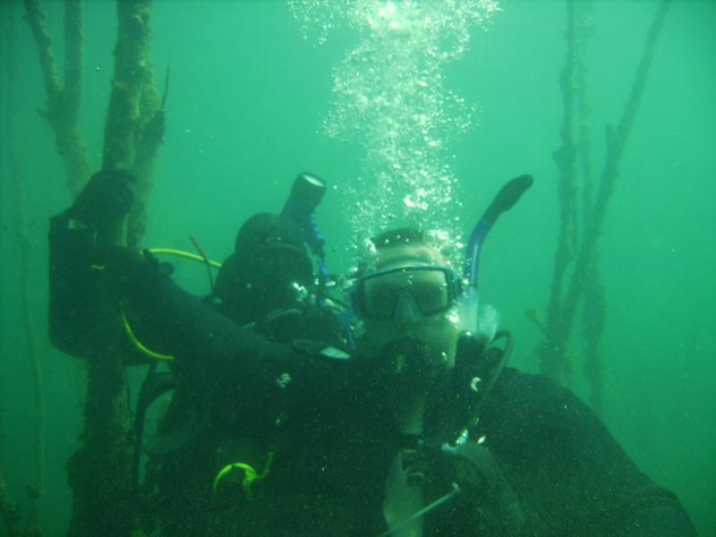 """My """"little"""" brother on his first dive. I'm on the left"""