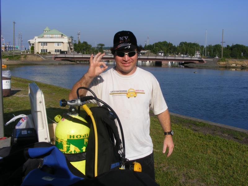 Me at Manasquan River Railbridge in NJ ready to dive.