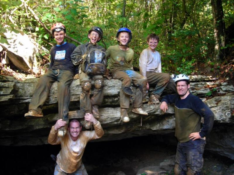 Richard (lower left) spelunking in TN