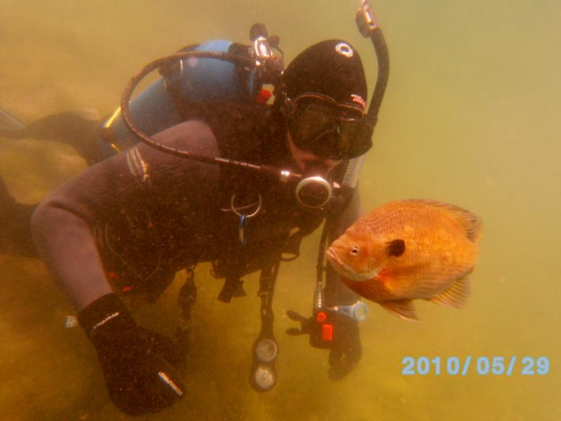 Me diving at Haigh Quarry in Kankakee, IL