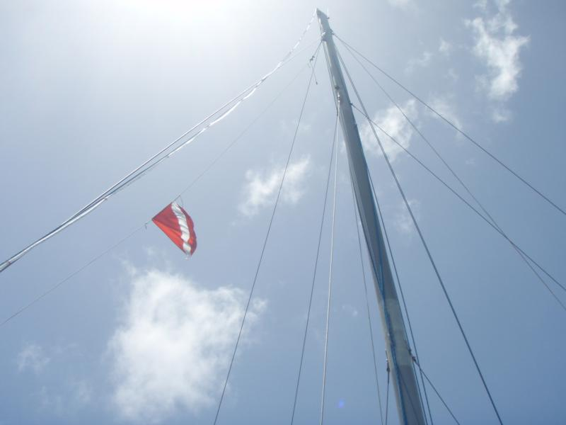 Dive flag on sail