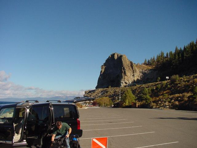 Parking area for Cave Rock (Shown in background)