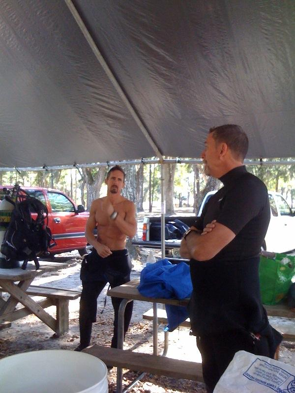 Post-dive assessment with instructor
