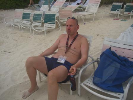 relaxing after snorkeling, Disney Private Island, Bahamas 2009