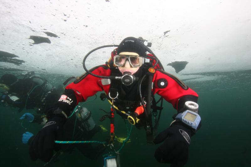 Ice diving in Poland