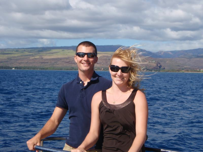 Jess and I on a boat in Kauai