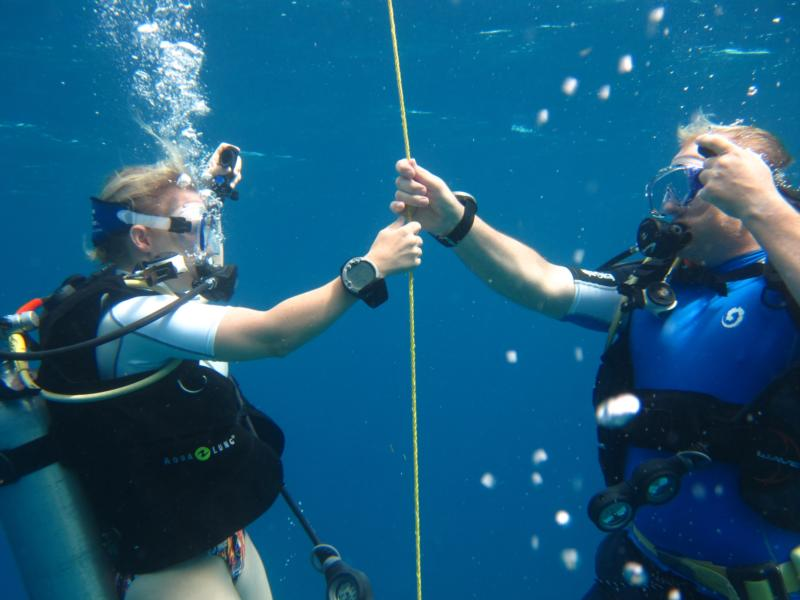 My wife and I on our first dive after certification