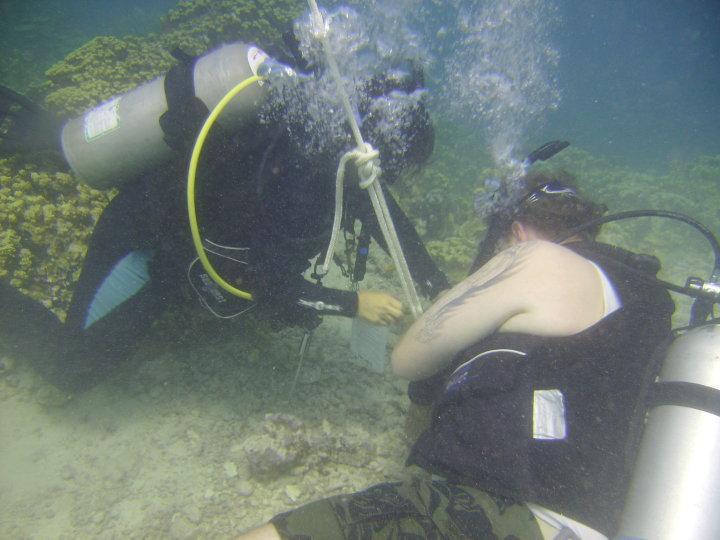 Setting up for Open Water Class-GabGab Guam