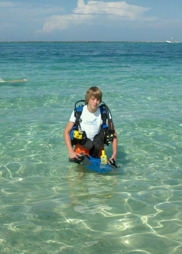 My boy on dive #2