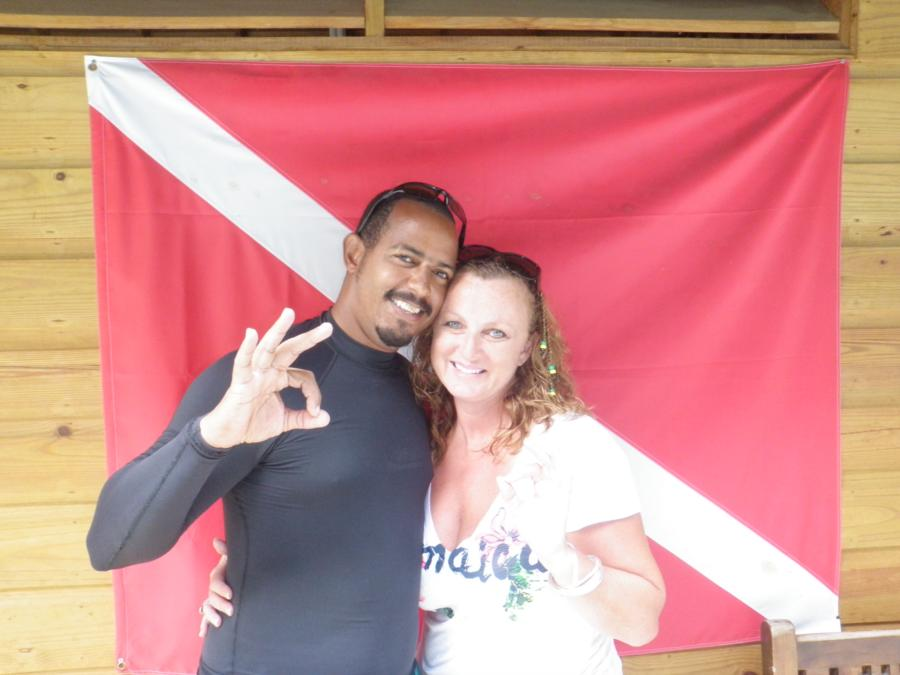 with my instructor in Jamaica