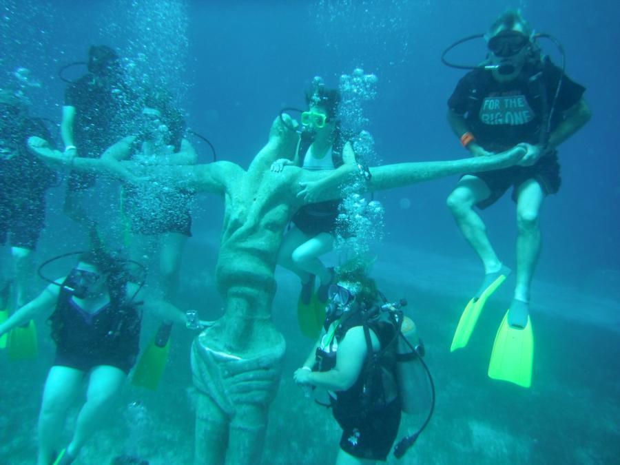 Underwater Christ Statue