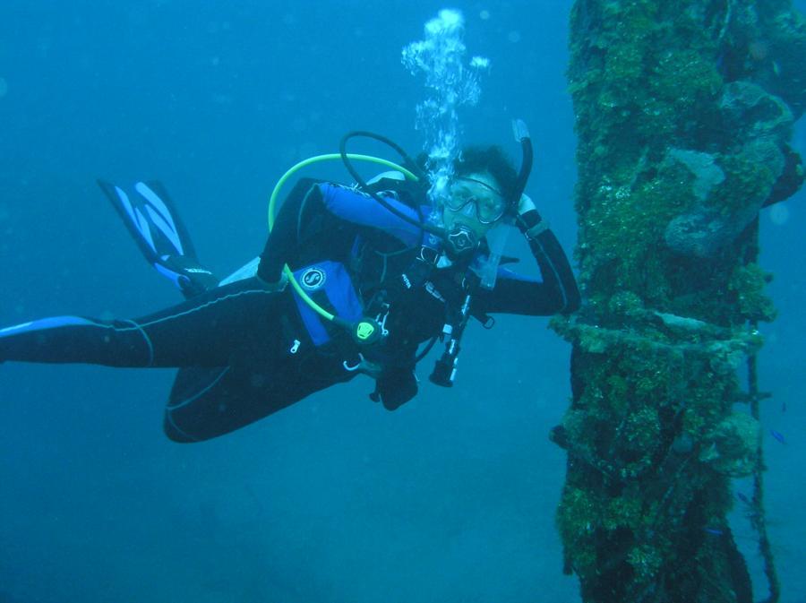 at 100 feet. El Aguila Wreck, Roatan, Honduras