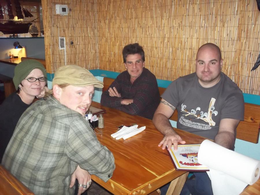 Greg, Greg, Chuck & Christal at DinnerCrystal River, FL