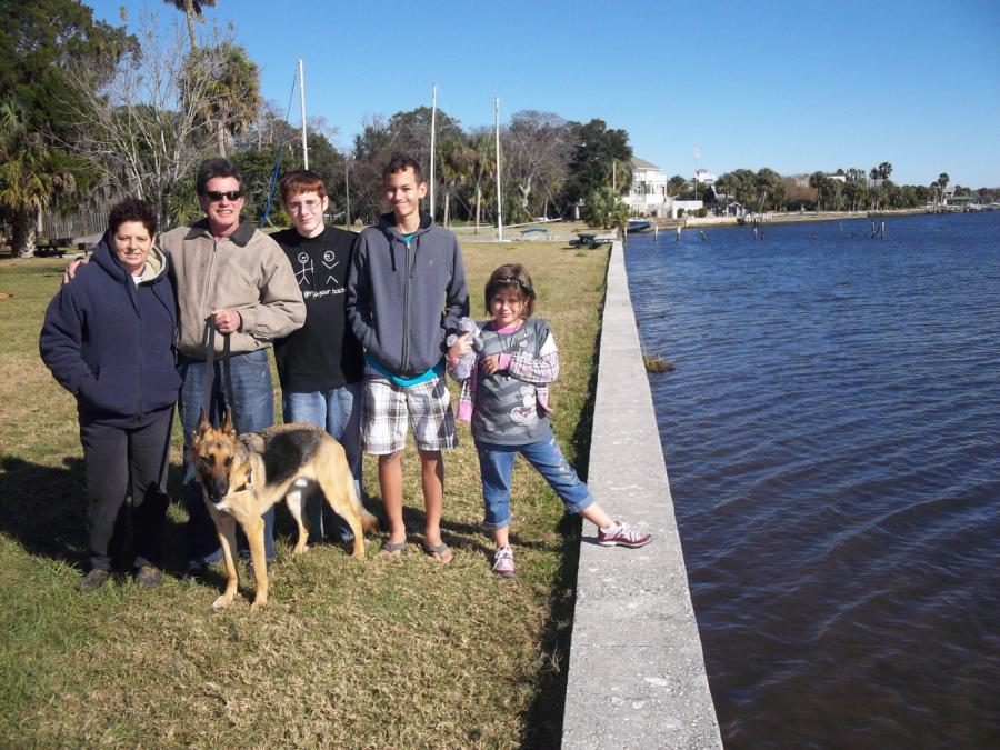 Greg, Eve and our kids with Rambo in Crystal River, FL