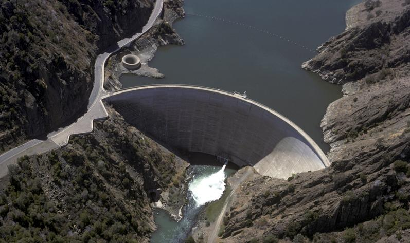 Aerial View of Monticello Dam in Napa County, California (aka: Morning Glory Hole)