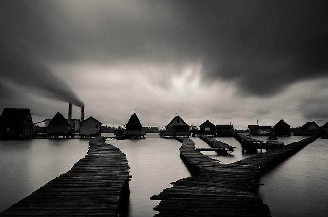 Houses on Lake in Bokod Hungary with wooden walkways