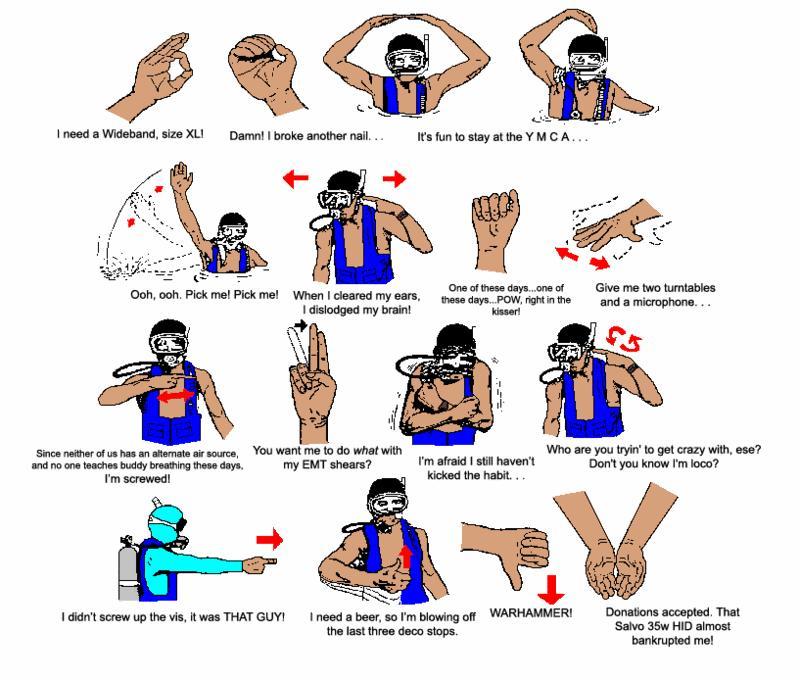 funny scuba hand signals