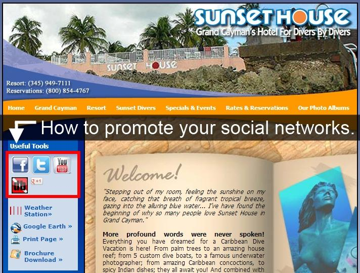 Promote your social networks including DiveBuddy
