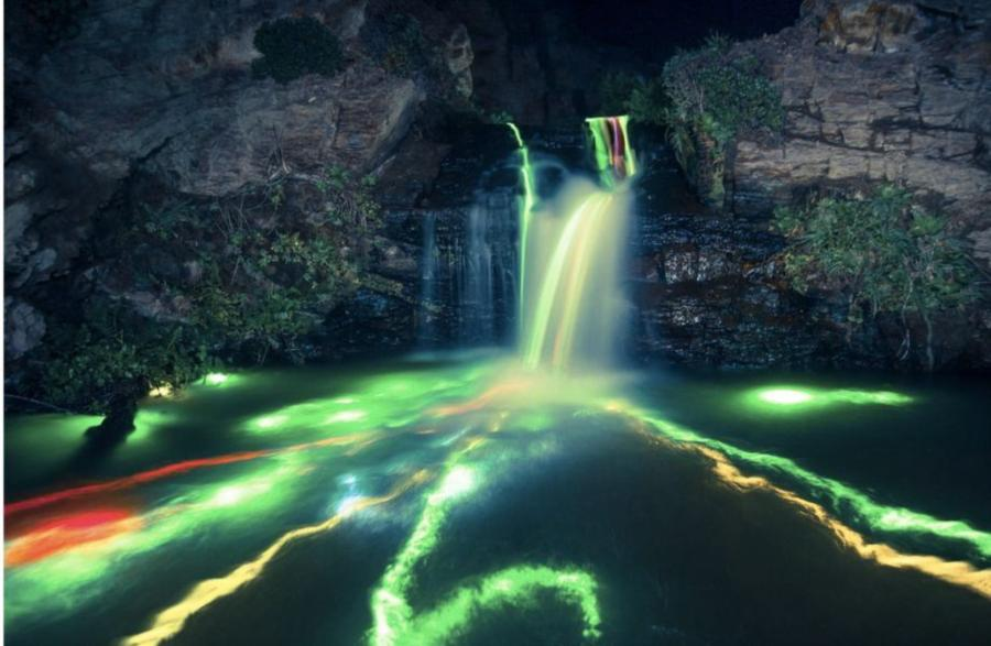 Neon Luminance - glow sticks in waterfalls in Northern California