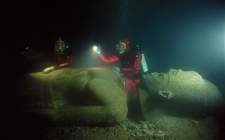 Divers work to recover statue from sunken city of Heracleion