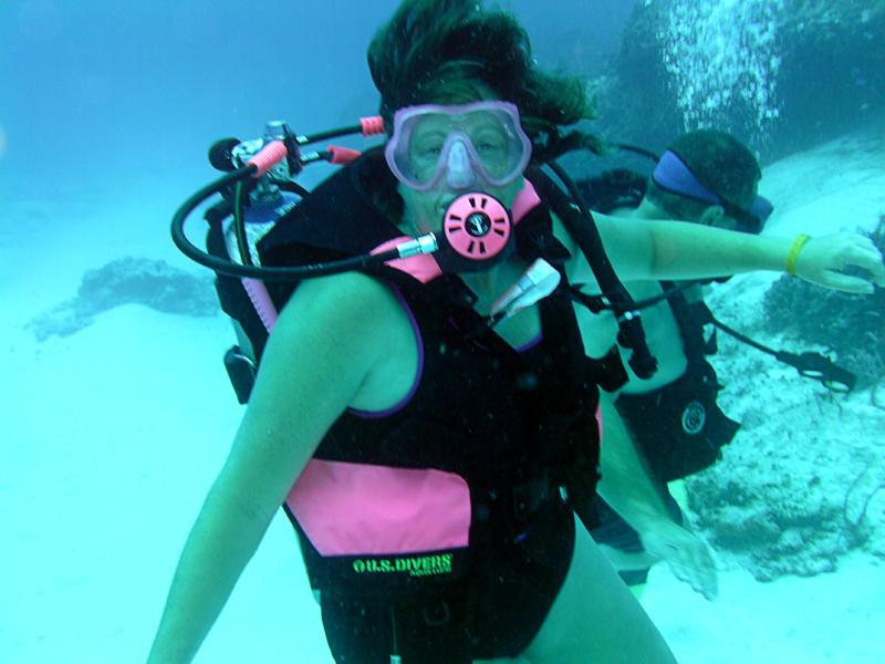 Terri diving Cozumel