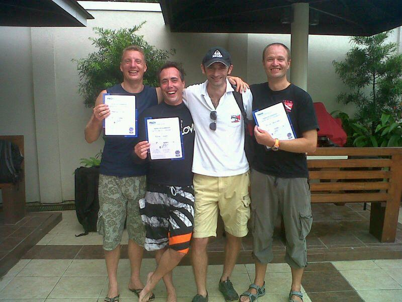 Greg with New PADI Instructors, Cebu, Philippines