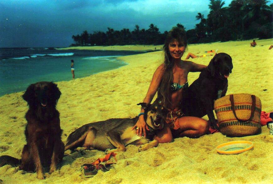 Me and my dogs on Sunset Beach 1987