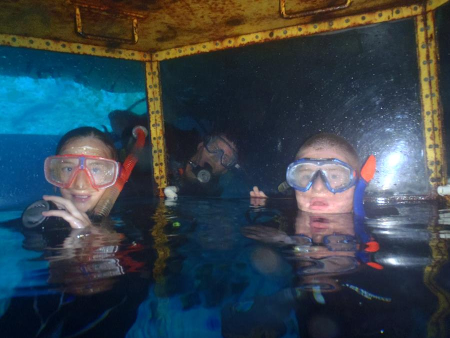 Blue Grotto - me photobombing my kids during their cert dives