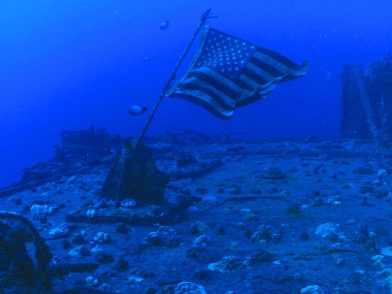 Flag flies over Sea Tiger wreck, HI