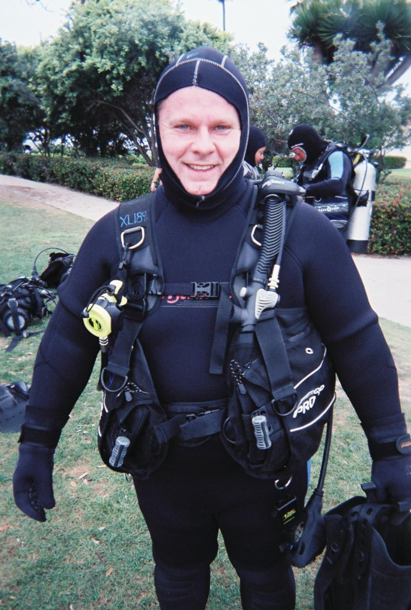 Ready for my first cold water dive at La Jolla cove near San Diego.