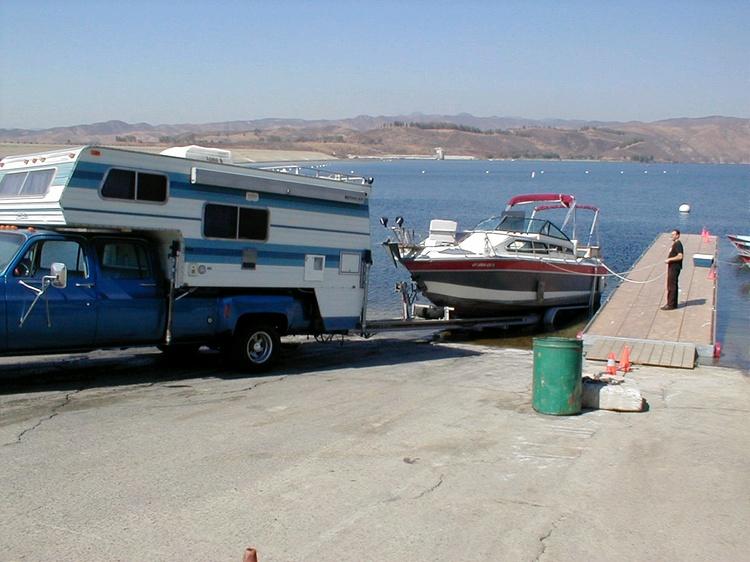 Truck, camper & boat at the lake, Next is BAJA!