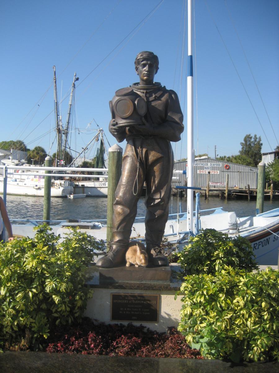 "My Pet Rabbit ""Werner"" At The Sponge Diver Monument At Tarpon Springs, Florida"