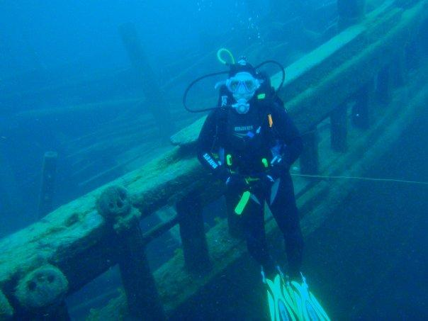 Me on the Arabia wreck in Tobermory Ontario, Canada